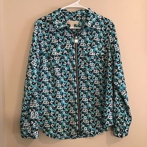 Michael Kors Floral Zipper Long Sleeve Blouse
